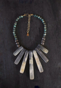 sea and stone jewelry Horn & Turquoise Bib Necklace