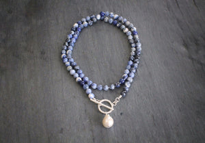 Sea and Stone Jewelry Sodalite Toggle Wrap Necklace with Baroque Pearl Doubled
