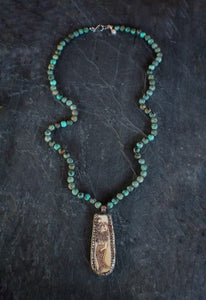 sea and stone jewelry African Turquoise & Carved Mermaid Necklace