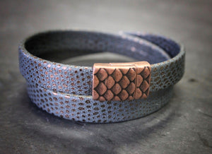 Sea and Stone Jewelry - Faux powder blue gecko leather, wrap bracelet with copper colored metal clasp with scale detailing.