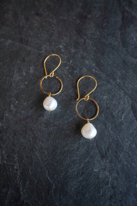 Pearl Circle Drop Earring