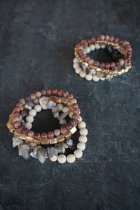 sea and stone jewelry Rouge Gemstone Stretch Stack