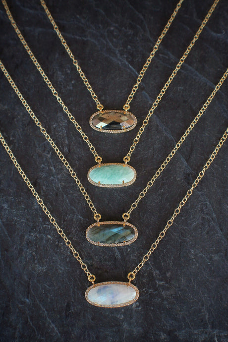 sea and stone jewelry Gemstone Station Sparkle Necklace