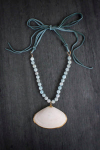 sea and stone jewelry Clam Shell, Aquamarine, & Suede Necklace