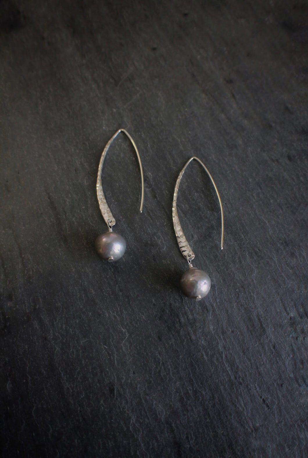 sea and stone jewelry Pewter Pearl & Hammered Silver Crescent Ear Wires