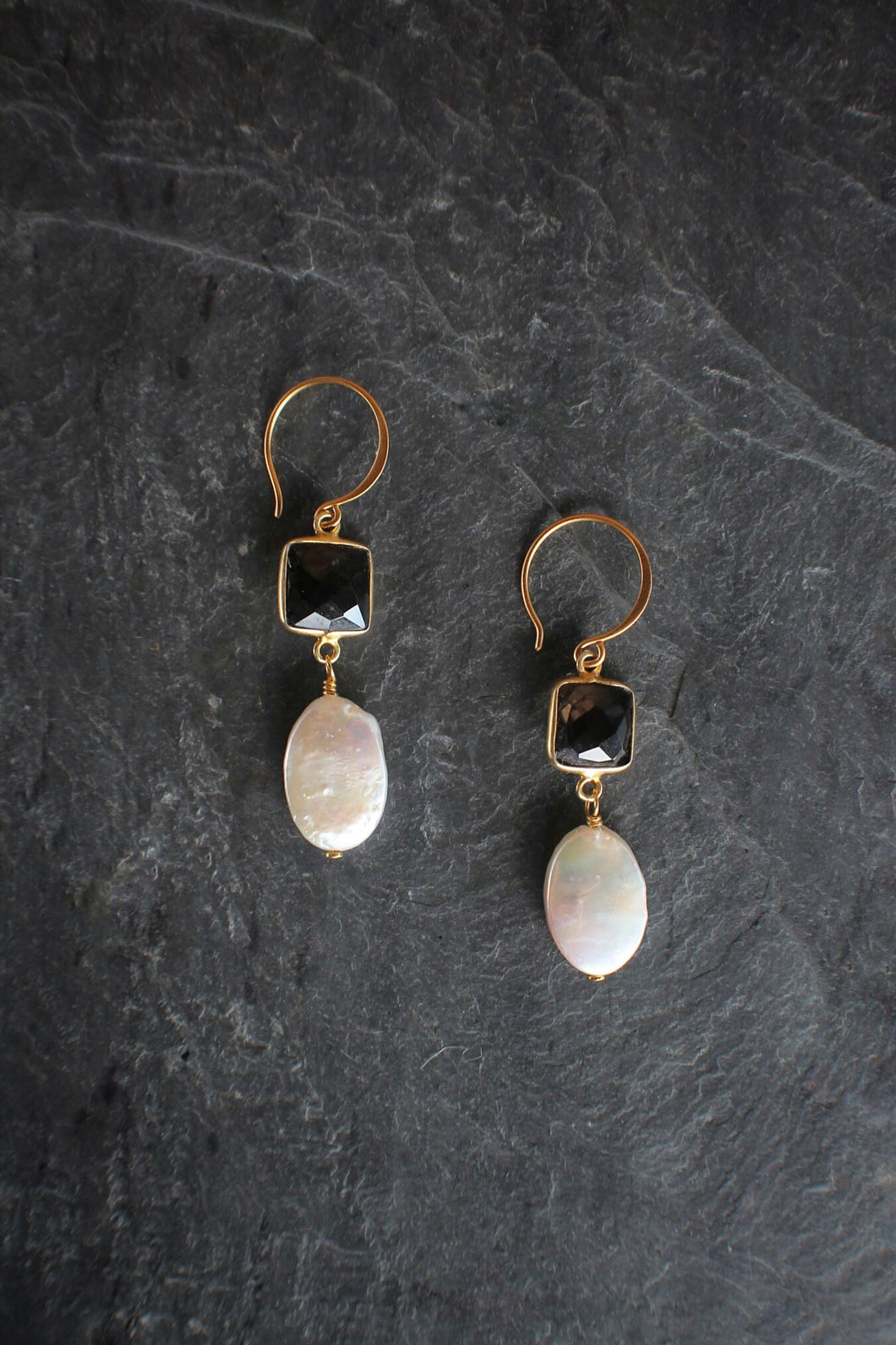 sea and stone jewelry Smokey Quartz & Coin Pearl Drops