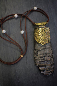 sea and stone jewelry Embellished Water Buffalo & Leather Necklace