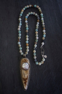 sea and stone jewelry Embellished Bone & Matte Amazonite Necklace