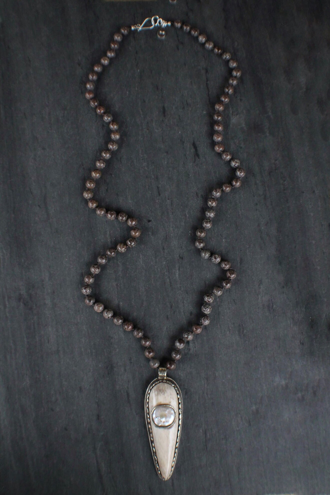 sea and stone jewelry Carved Shield & Jasper Necklace
