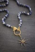 sea and stone sodalite necklace with sapphire and diamond star