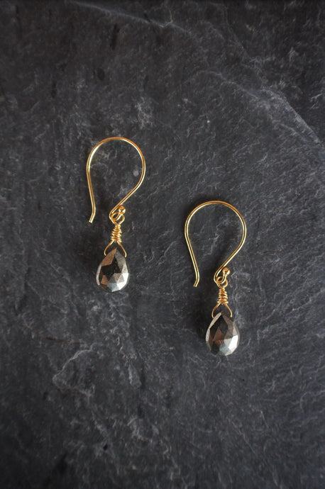 sea and stone jewelry Dainty Pyrite Drops