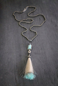 Pyrite, Diamond, & Horsehair Necklace