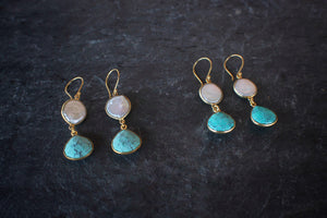 sea and stone jewelry Coin Pearl & Turquoise Drop Earrings