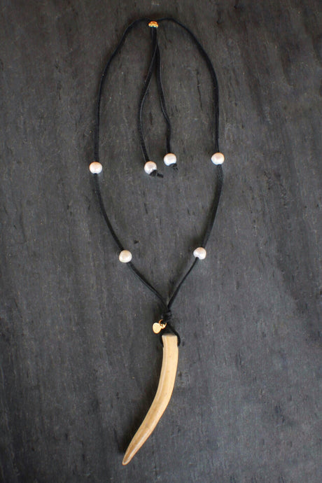 sea and stone jewelry Adjustable Antler & Suede Necklace
