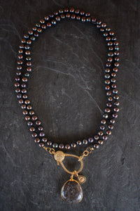 sea and stone jewelry Pave, Blackened Pearl, & Dino Bone Necklace