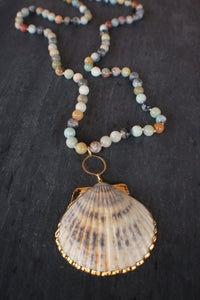 sea and stone jewelry Amazonite & Scallop Shell Necklace