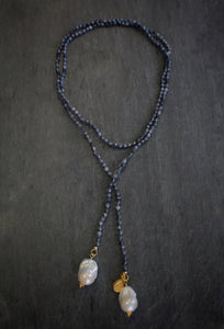 sea and stone jewelry Sapphire & Pearl Lariat