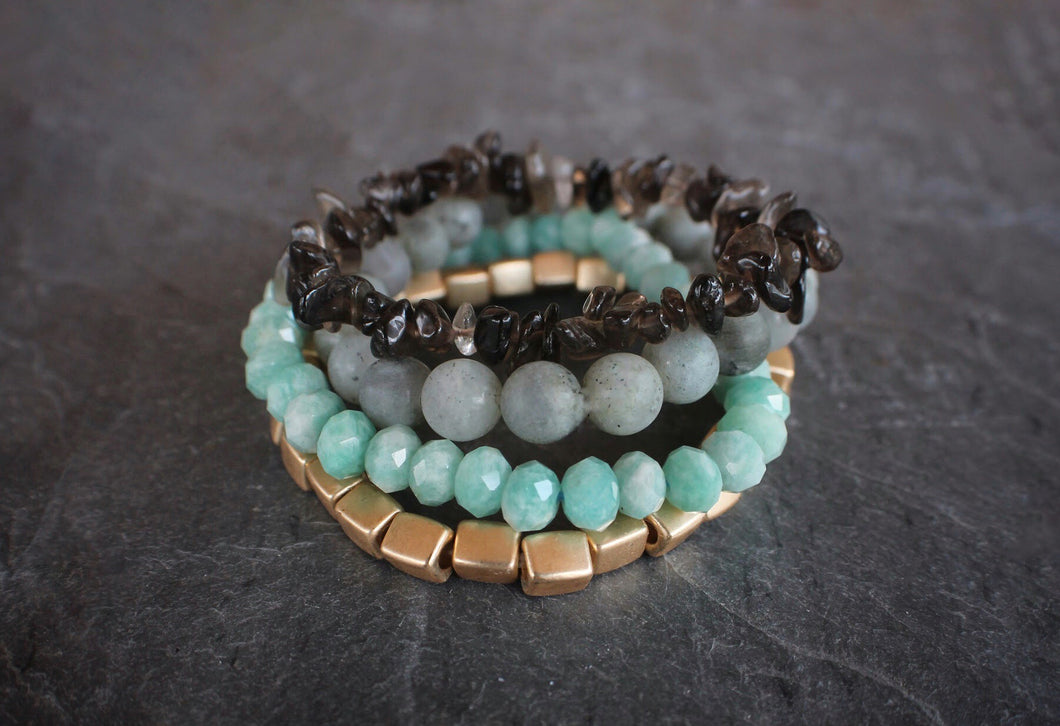 sea and stone jewelry Tidepool Gemstone Stretch Stack