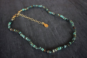 sea and stone jewelry Dainty African Turquoise Adjustable Necklace