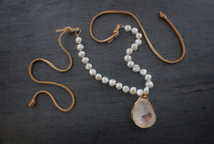 sea and stone jewelry Oyster, Pearl, & Suede Necklace