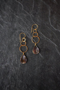 sea and stone jewelry Linked Abalone Earrings