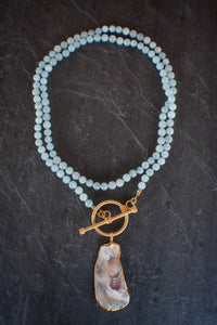 sea and stone jewelry Aquamarine & Oyster Toggle Necklace