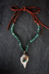 sea and stone jewelry Moss Agate, Shell, & Suede Necklace