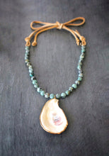 sea and stone jewelry Oyster, Turquoise, & Suede Necklace