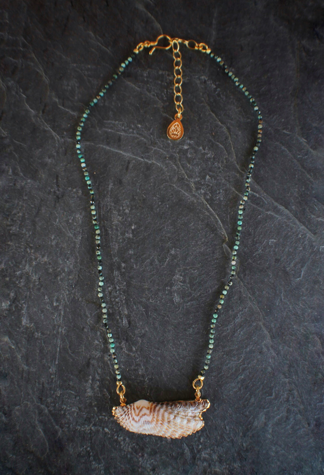 African Turquoise & Turkey Wing Necklace