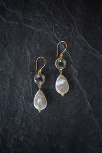sea and stone jewelry Quartz & Teardrop Coin Pearl Earrings
