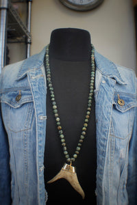 African Turquoise & Forked Antler Necklace