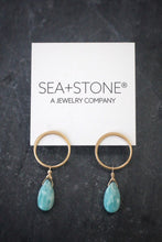 sea and stone amazonite droplet post earrings