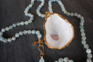 sea and stone jewelry Aquamarine & Oyster Necklace