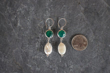 Green Onyx & Coin Pearl Drops