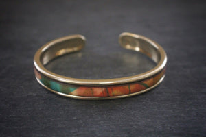 sea and stone tropical print leather inlay cuff bracelet thin gold