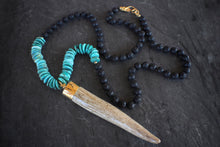 sea and stone jewelry Long Antler, Turquoise, & Lava Necklace