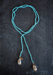 Dyed Howlite & Baroque Pearl Lariat