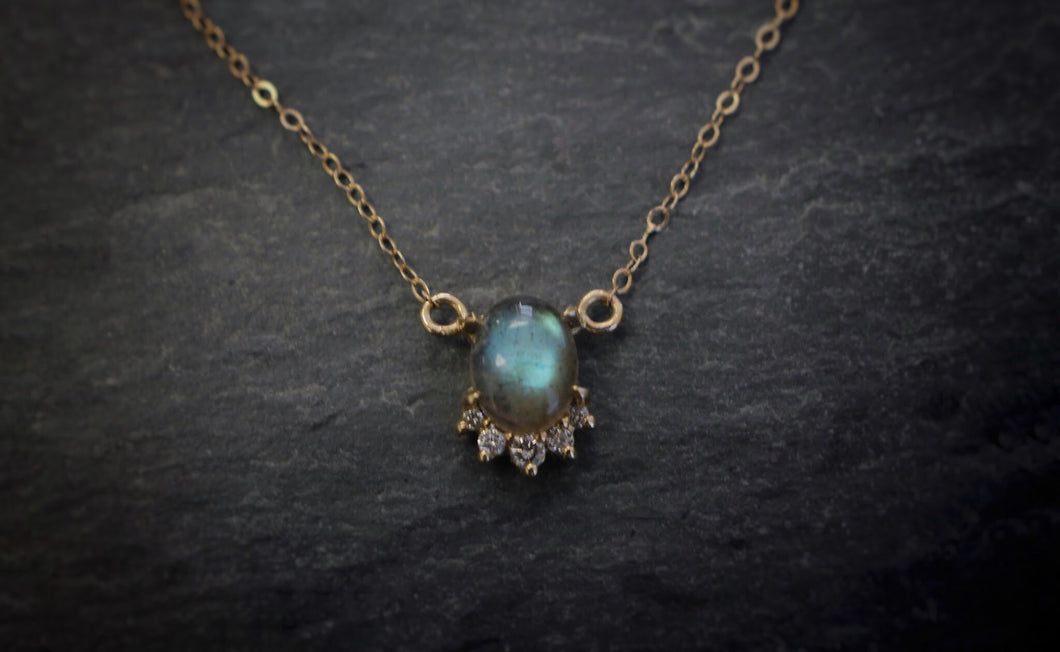 Yellow Gold, Labradorite, & Diamond Necklace