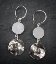 Sea and Stone Jewelry - Drop earrings featuring shining druzy and hammered silver circlets under sterling silver hook ear wires.