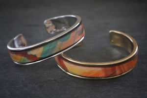 sea and stone tropical print leather inlay cuff bracelet thick silver and gold