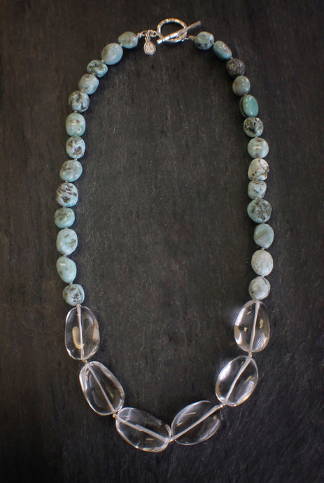 sea and stone jewelry Larimar & Quartz Statement Necklace
