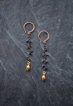sea and stone jewelry Black Fringe Earrings with Golden Accents