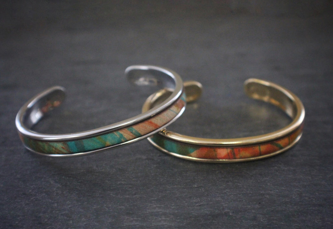 sea and stone tropical print leather inlay cuff bracelet thin gold and silver