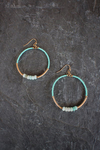 sea and stone jewelry Beaded Hoop Earrings