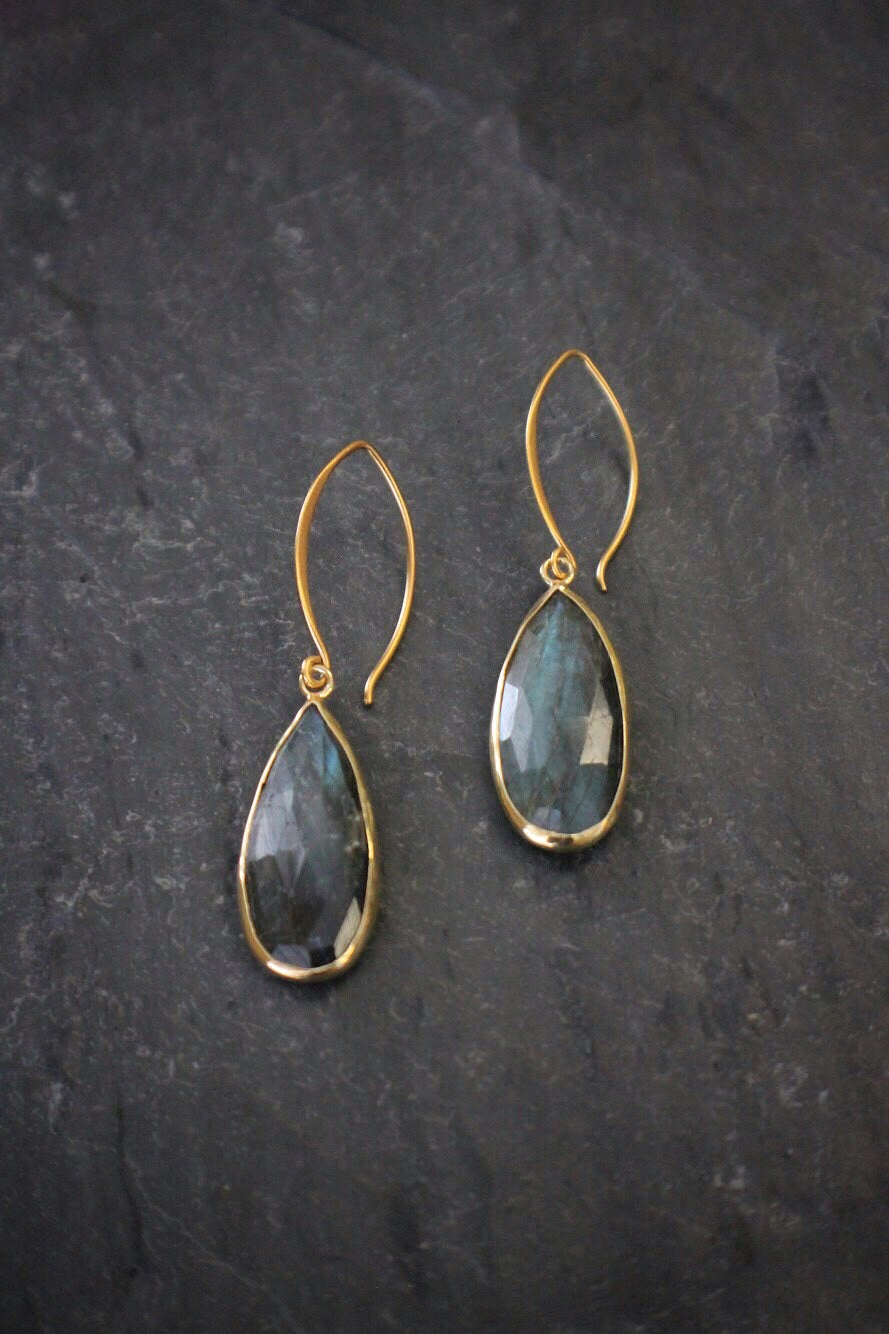 sea and stone jewelry vermeil labradorite earrings