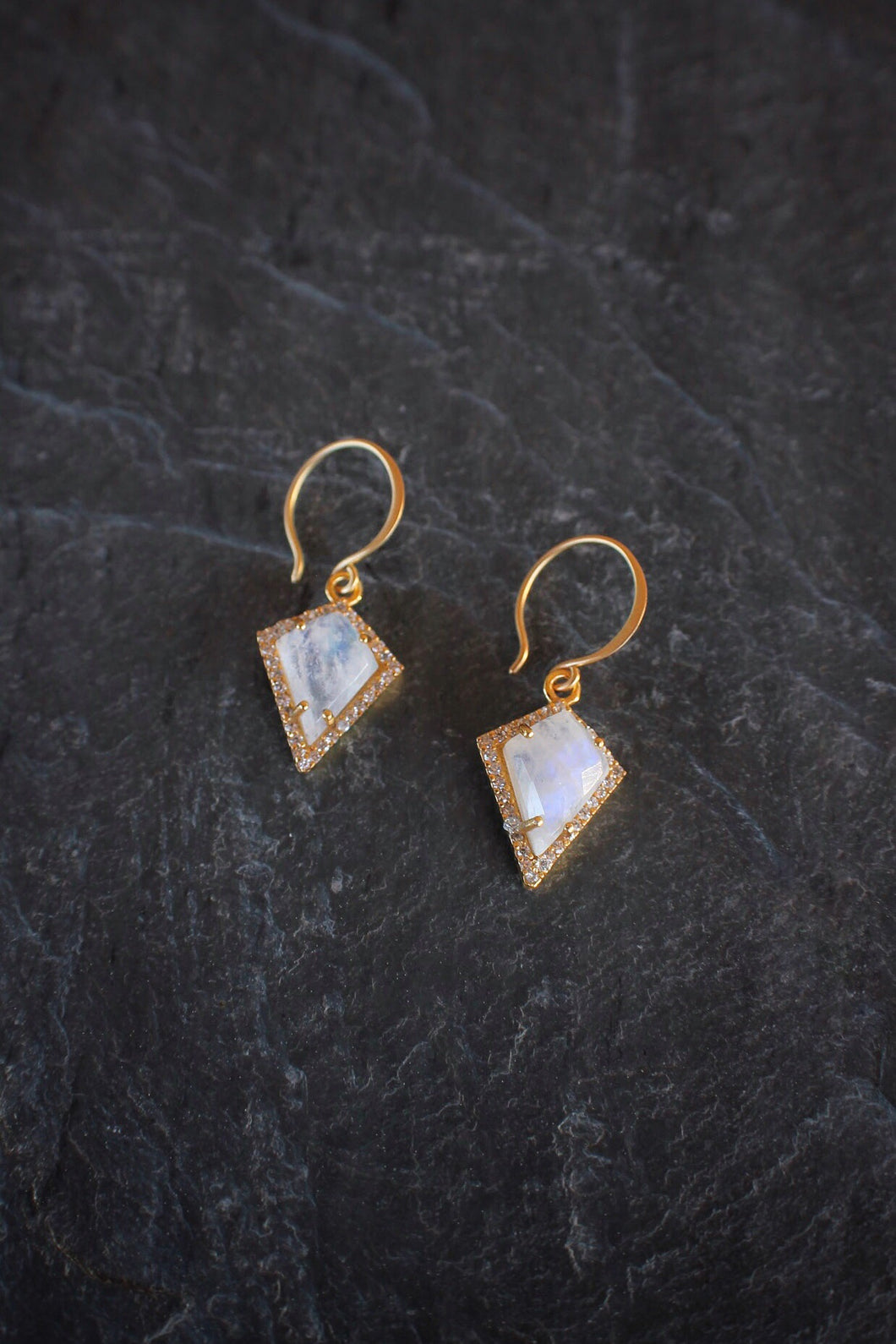 sea and stone jewelry Pave Moonstone Kite Earrings