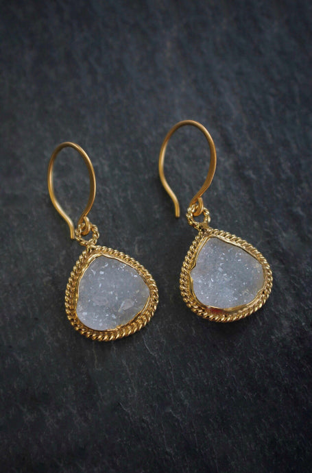 sea and stone jewelry Druzy Twisted Tear Drop Earrings