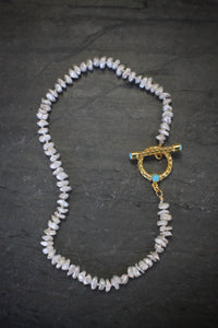 Sea and Stone Jewelry- Heshi Pearl Necklace with Vermeil Toggle Accented in Turquoise Cabochons