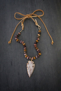 Mookaite, Arrowhead, & Suede Necklace - SAMPLE SALE PRICE