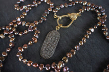 sea and stone jewelry Pave Pearl Wrap With Diamond Shield